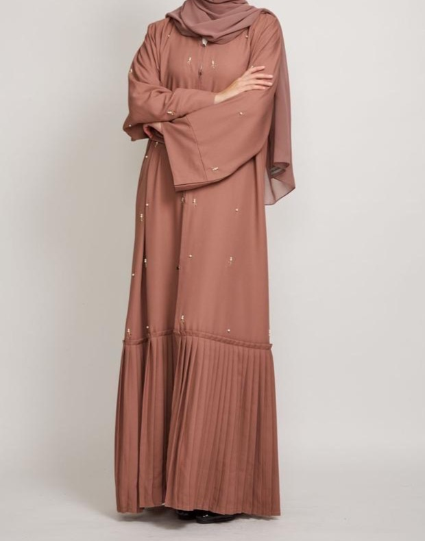 Fahima Inspiration Dustry Peach Abaya full
