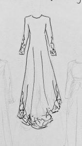 Fahima Miah Red Velvet Abaya Sketch