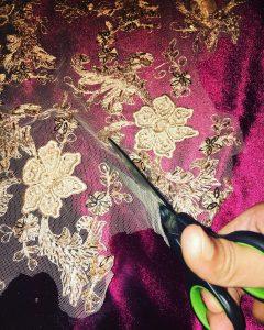 Fahima Miah Red Velvet Abaya Cutting Lace