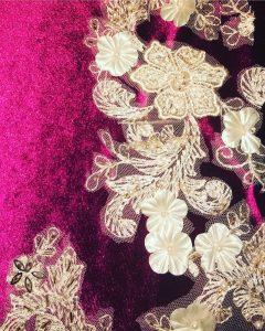 Fahima Miah Red Velvet Abaya Cut Out Motif