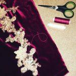 Fahima Miah Red Velvet Abaya Arm with Motif