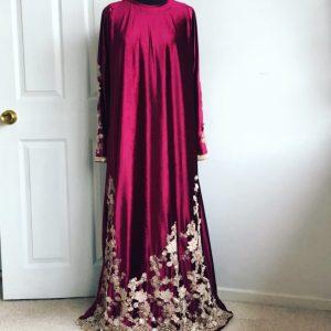 Fahima Miah Red Velvet Abaya 3