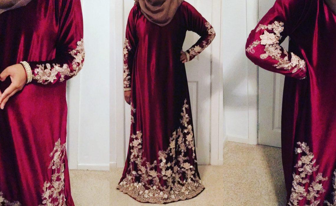 Red Velvet Fancy Abaya for a Wedding by Fahima Miah