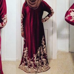 Red Velvet Fancy Abaya for a Wedding by Fahima Miah